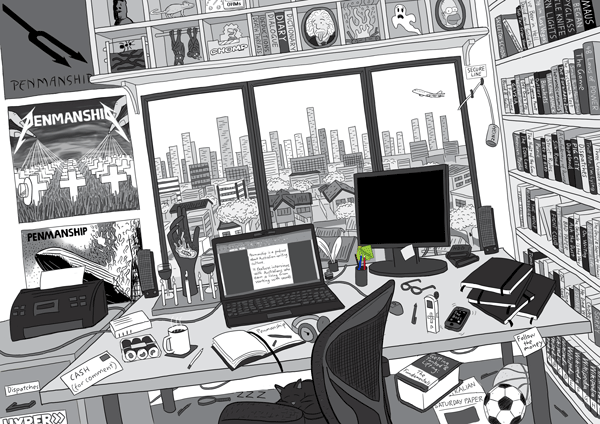 Drawing of cluttered home office desk, with bookshelves, laptop computer, printer and other stationery. Work desk with a view out a window towards a city skyline.