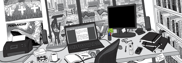 Detailed illustration of home office desk overlooking city suburb. Cluttered desk features laptop computer, monitor, mouse, printer, writing pads, notebooks, speakers.