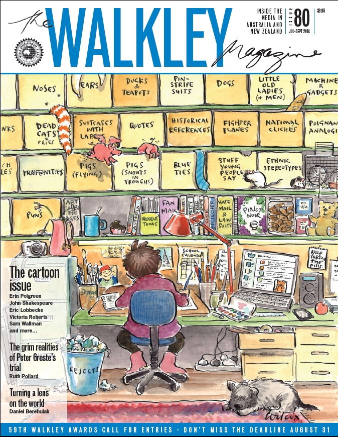Cartoonist concentrating on drawing at a cluttered desk. Walkley Magazine cover by Cathy Wilcox.
