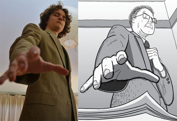 Cartoonist Stuart McMillen posing as a reference for a character in his comic Peak Oil starring Marion King Hubbert.