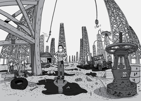 Panoramic wide-angle shot of man standing in the middle of a Texas oil field, surrounded by oil derricks and puddles of petroleum. Hands on hips, looking up to the derricks that tower overhead.