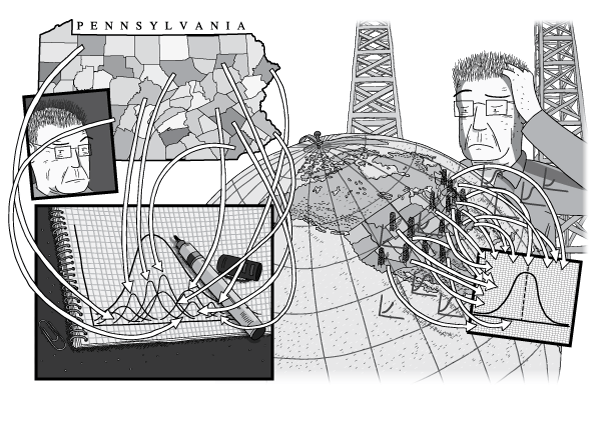 Comic man standing next to large globe of North America, looking at arrows illustrating the Peak Oil concept. Geologist M. King Hubbert thinks about Peak Oil, scratching his head.