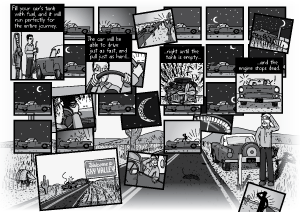 Complicated comic art arrangement. Timeline of cartoon car driving along a highway throughout the night, and then breaking down at dawn.