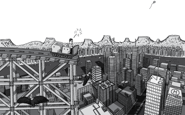Cartoon drawing of man in roller coaster car, high above a downtown city scene. Comic illustrations of office towers and skyscrapers below a high-complete rollercoaster track.