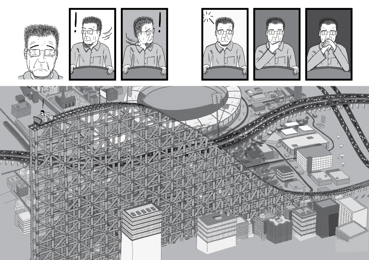 Comic book drawing of worried man in rollercoaster car. High angle incomplete rollercoaster built in the middle of a city.