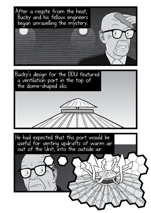 Black and white cartoon of Buckminster Fuller inside DDU. After a respite from the heat, Bucky and his fellow engineers began unravelling the mystery. Bucky's design for the DDU featured a ventilation port in the top of the dome-shaped silo. He had expected that this port would be useful for venting updrafts of warm air out of the Unit, into the outside air.