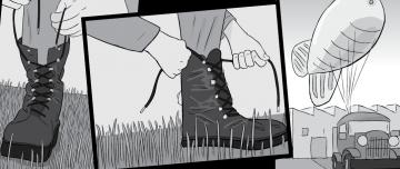 Cartoon illustration of tying up shoelaces