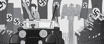 Cartoon artwork of Adolf Hitler motorcade with swastika flags