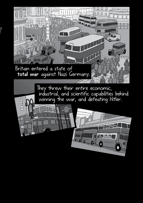 Britain entered a state of total war against Nazi Germany. They threw their entire economic, industrial, and scientific capabilities behind winning the war, and defeating Hitler.