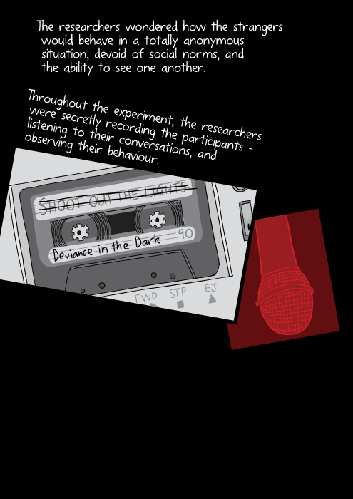 Cartoon drawing of cassette tape. The researchers wondered how the strangers would behave in a totally anonymous situation, devoid of social norms, and the ability to see one another. Throughout the experiment, the researchers were secretly recording the participants – listening to their conversations, and observing their behaviour.