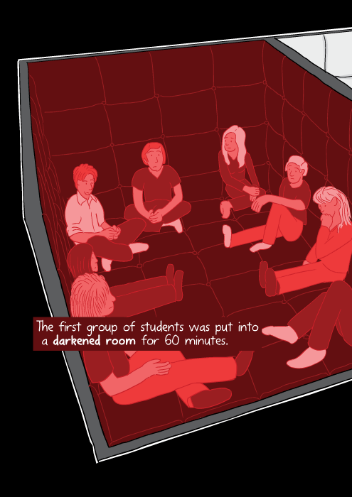 High angle view of students sittingon the floor in a padded room, infrared camera effect.The first group of students was put into a darkened room for 60 minutes.