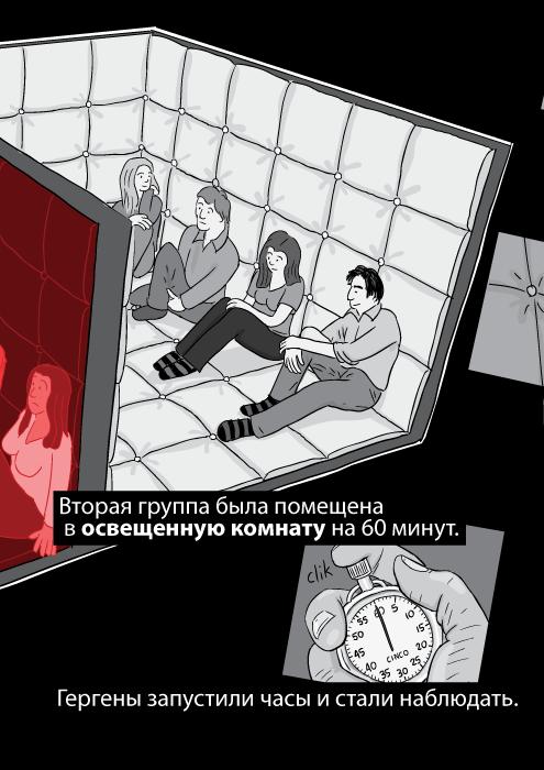 Вторая группа была помещена в освещенную комнату на 60 минут. Гергены запустили часы и стали наблюдать.