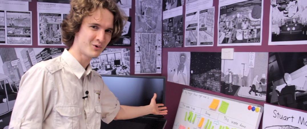 Stuart McMillen tour of cartoon studio in office