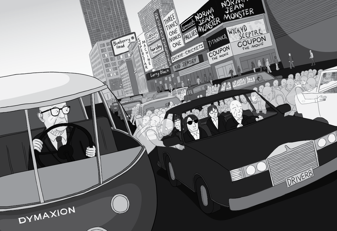 Cartoon Buckminster Fuller driving Dymaxion Car, looking at the Energy Slaves pushing the car next to him in traffic. Dutch angle black and white cartoon.