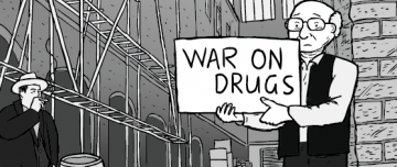 War on Drugs cartoon thumbnail image. Two men in shady alleyway.