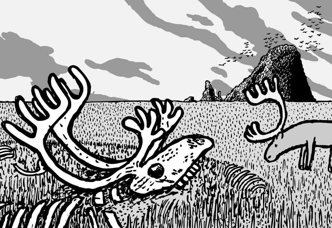 Cartoon desolate arctice island with reindeer skulls and grey clouds.