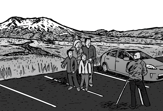 Cartoon image of family posing for a group photo in a carkpark of national park.