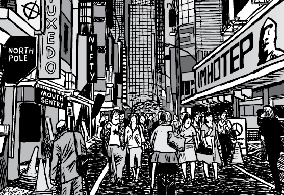 Cartoon streetscape via of a downtown city street in shopping district. Showing people walking down a busy street - black and white illustration.