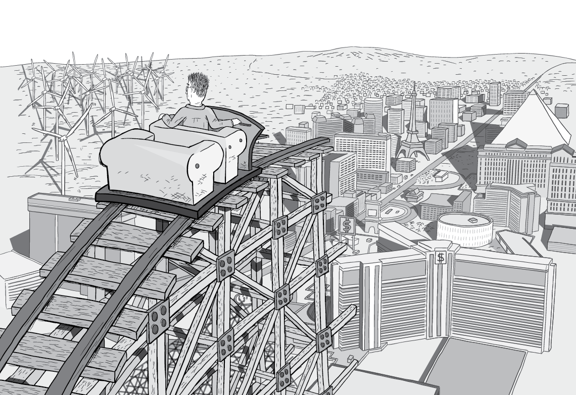 Panoramic cartoon image of a man riding in a rollercoaster car looking out of the city of Las Vegas. Showing the city below, the horizon, the nearby buildings, and renewable energy being generated by wind farm turbines.