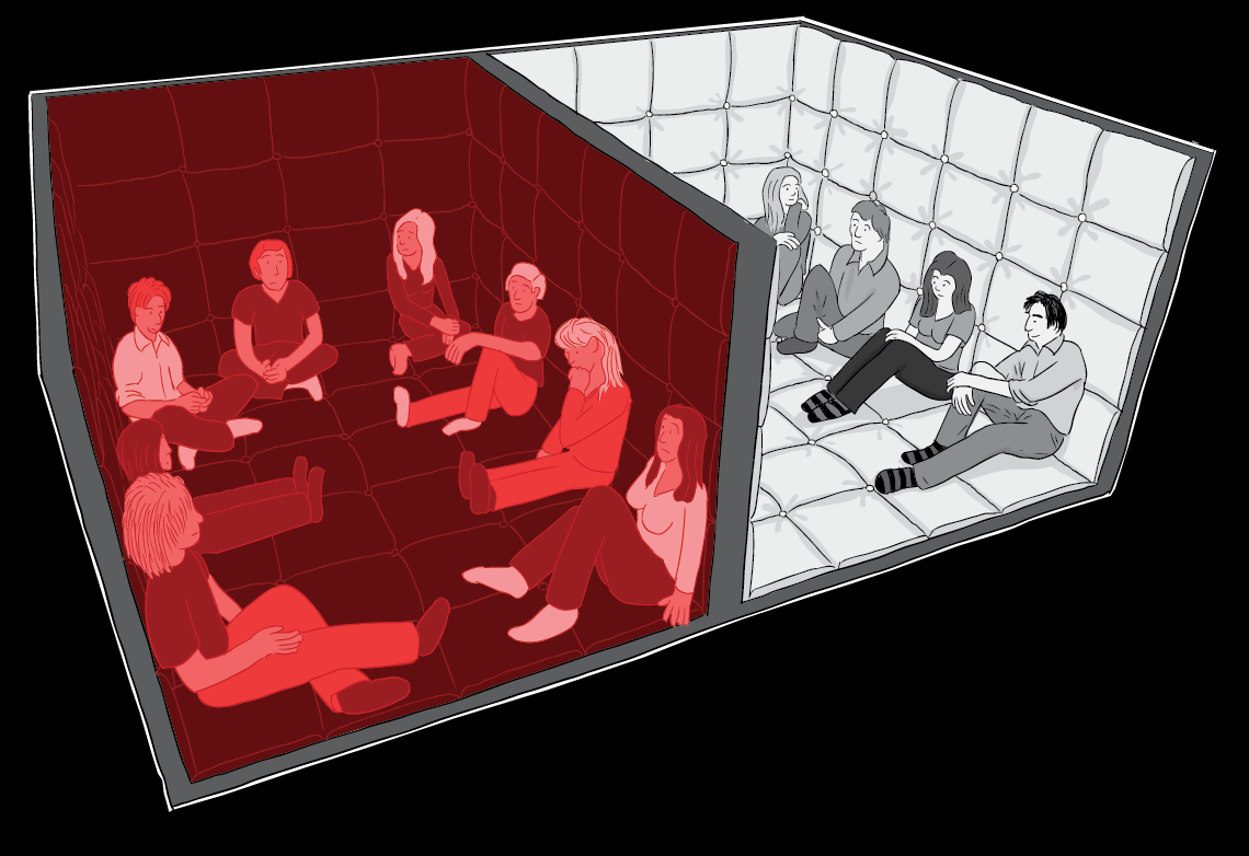 Deviance in the Dark: comparison between the red infrared room, and the lit room with the lights turned on