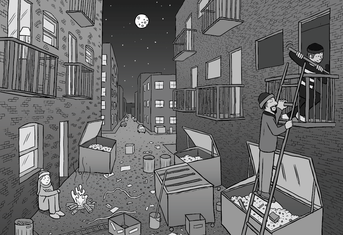 Black and white alleyway scene, showing a downtown alley with dumpsters and boxes. Robbers are climbing a ladder to burgle an apartment, and a lonely homeless girl is sitting on the ground in the alleyway.