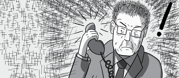 Cartoon man in business suit is surprised and angry by a loud phone call.