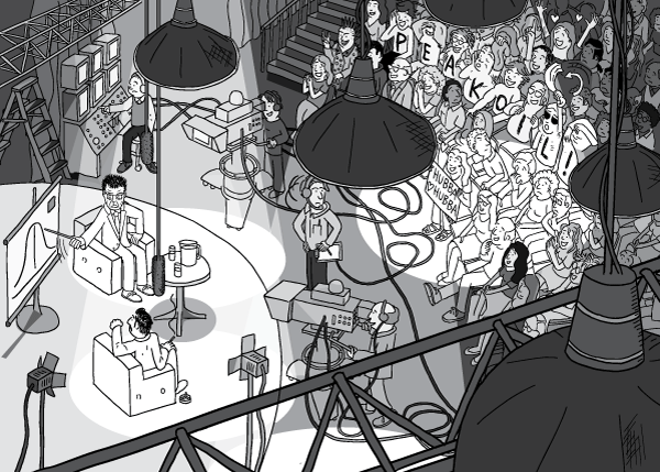 High angle view of studio lights above TV studio. Detailed drawing of studio audience watching a talk show being recording by TV cameras.