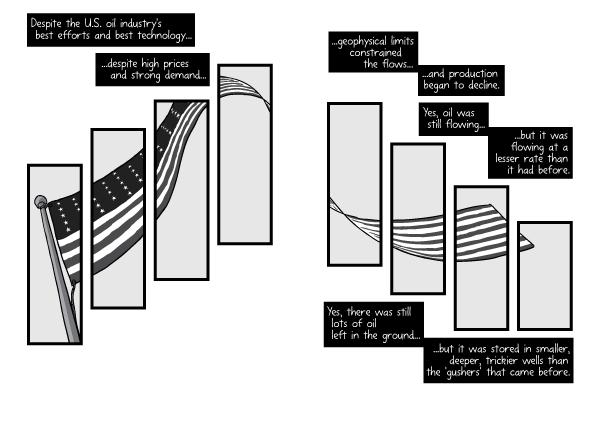 Comic artwork with American flag as visual motif. Comic art creative panel arrangement.