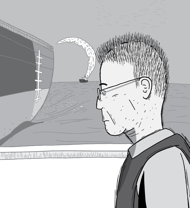 Profile view of cartoon man wearing glasses with contemplative look on face. Geologist M. King Hubbert wearing a life jacket staring towards distance. Side view of old man's face illustration.
