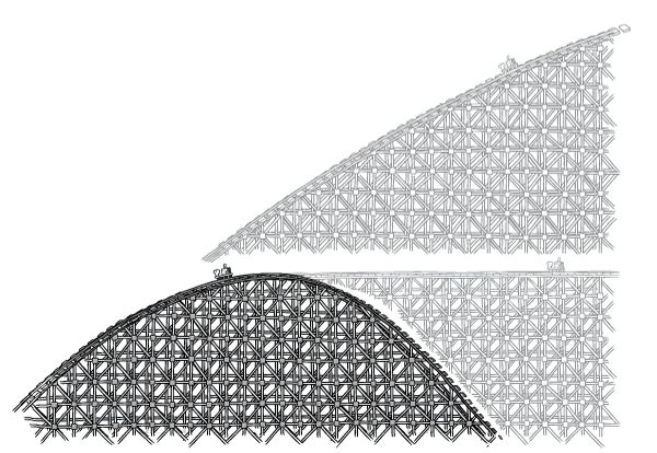 """Black and white roller coaster. Science communication example of a """"graph that is not a graph""""."""