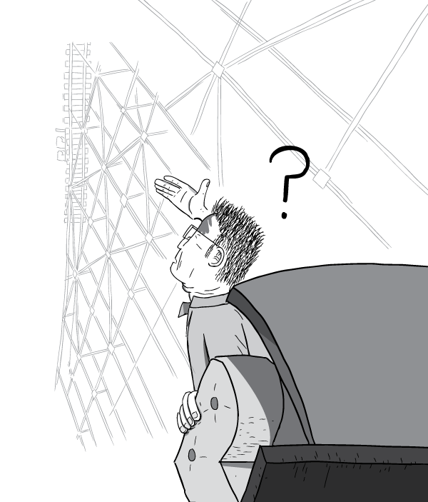 Man in roller coaster car looks up, shading his eyes from the sun. Low angle black and white cartoon drawing.