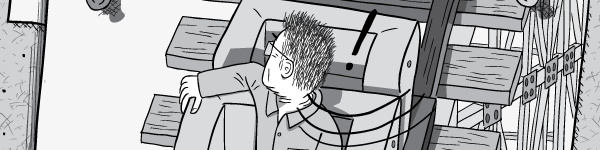 Angry cartoon drawing of man quickly turning around, looking over his shoulder.
