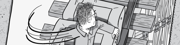 Drawing of angry man in seat quickly turning to look behind him. Black and white cartoon artwork.