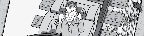 Cartoon of angry man shaking fists with rage. Clenched fists shaking with rage. Black and white drawing.