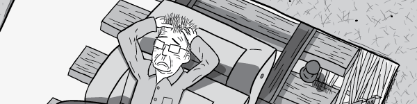 Worried man with hands on head, running his fingers through his hair in anguish. Black and white cartoon drawing of fear.