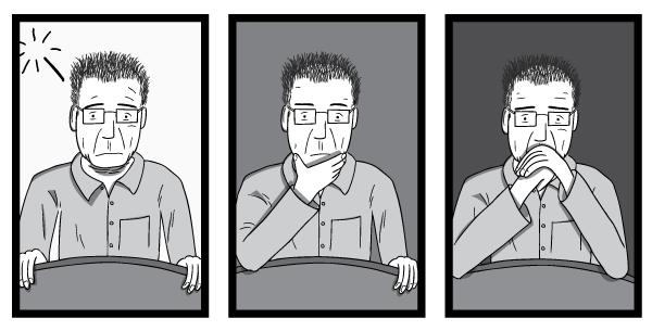 Cartoon triptych of man. 3 drawings of geologist M. King Hubbert by cartoonist Stuart McMillen #2.