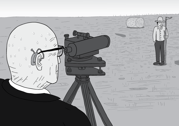 Black and white cartoon Buckminster Fuller dumpy level view over shoulder.