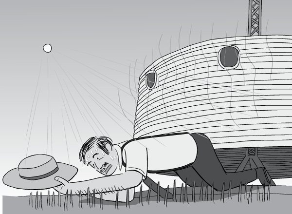 Low angle man crawling under Dymaxion Deployment Unit hot summer's day, reaching out for hat.