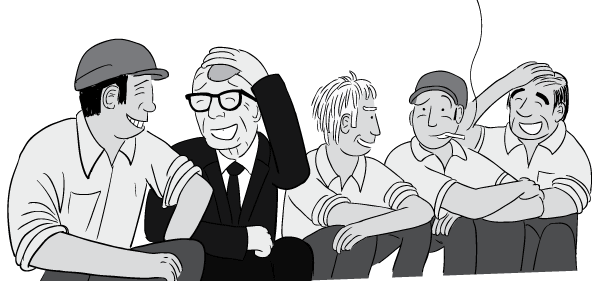 Cartoon workmen and suited man laughing.