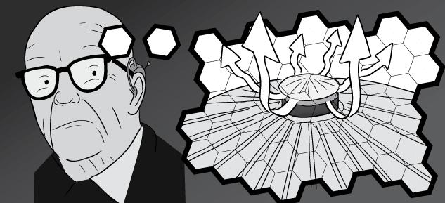 Buckminster Fuller drawing cartoon thought bubble.