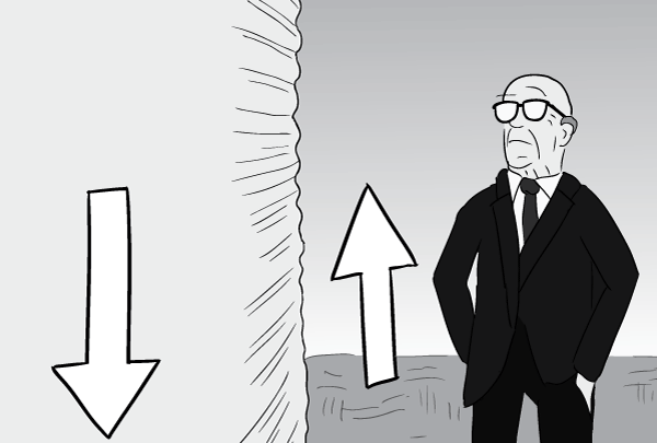 Cartoon black and white Buckminster Fuller observing side of water tank, and air currents.