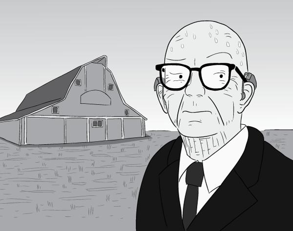 Pensive cartoon Buckminster Fuller sweating on sunny day, in Kansas field near barn.