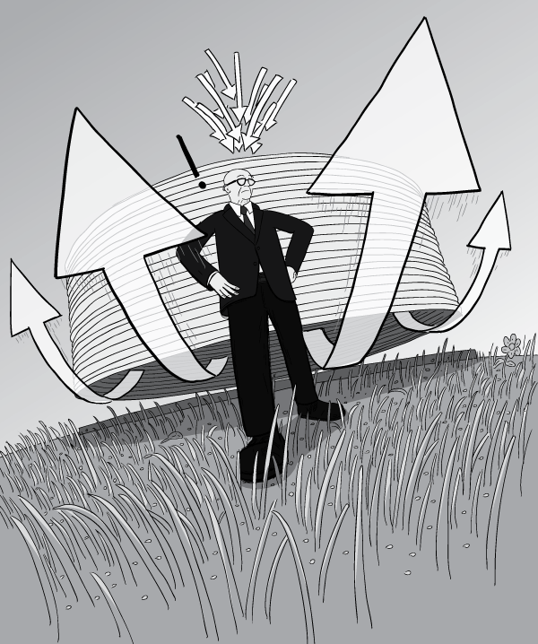 Cartoon drawing of Dutch angle Buckminster Fuller, with air current arrows blowing past him. Black and white illustration of Dymaxion Deployment Unit chilling dome on grassy field in Kansas.