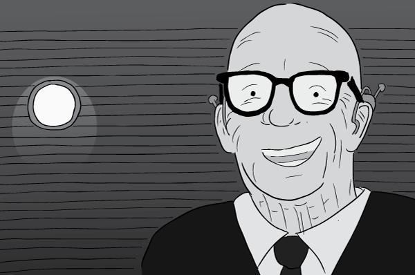 Cartoon black and white Buckminster Fuller drawing. Bucky Fuller smiling inside darkened room.