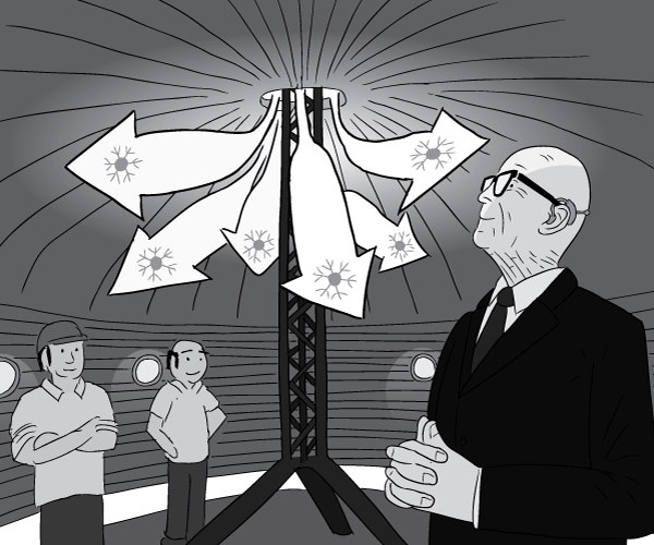 Low angle cartoon of man watching adiabatic expansion arrows inside chilling dome.