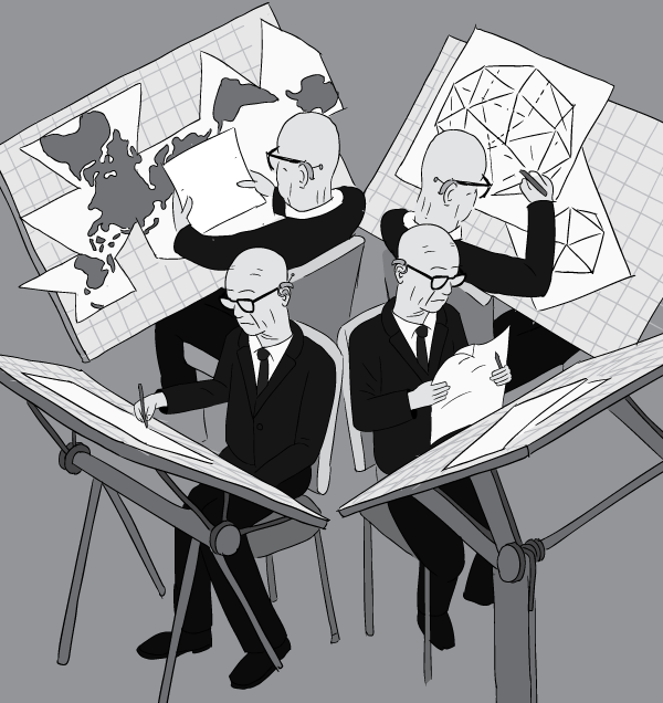 Cartoon four Buckminster Fullers working on four desks with chairs pressed against other. Tilted drawing boards, architect's desks.