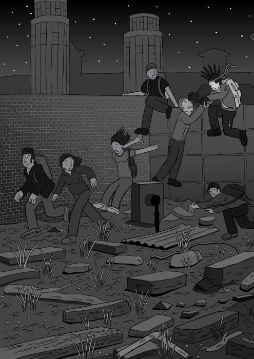 Hitlerleugung von Stuart McMillen. Schwarz-weiße Zeichnung einer nächtlichen Umgebung. Hitlerleugnung Titelbild. Junge Menschen rennen eine Mauer entlang und klettern über sie. Parodie des Killing Joke Albumcovers.