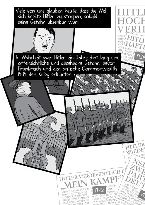Viele von uns glauben heute dass die Welt sich beeilte Hitler zu stoppen sobald seine Gefahr absehbar war. In Wahrheit war Hitler ein Jahrzehnt lang eine offensichtliche und absehbare Gefahr bevor Frankreich und der britische Commonwealth 1939 den Krieg erklärten.