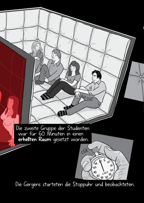 Die zweite Gruppe der Studenten war für 60 Minuten in einen erhellten Raum gesetzt worden. Die Gergens starteten die Stoppuhr und beobachteten.
