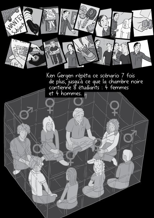 Ken Gergen répéta ce scénario 7 fois de plus, jusqu'à ce que la chambre noire contienne 8 étudiants : 4 femmes et 4 hommes.